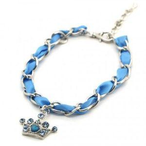 РАСПРОДАЖА! Ожерелье для собак голубое с подвеской Корона - Зоо товары