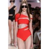 Red swimsuit with hollow out Monokini