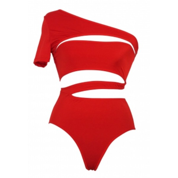 Красный купальник с прорезями Монокини