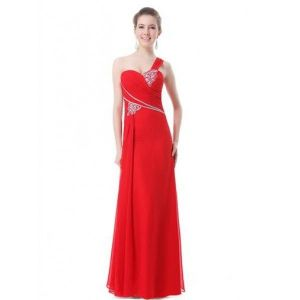 Dress one shoulder with shimmering rhinestones red