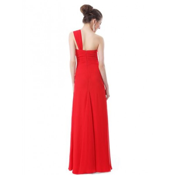 Dress one shoulder with shimmering rhinestones red. Артикул: IXI29483