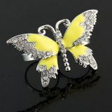 Double ring with a big butterfly