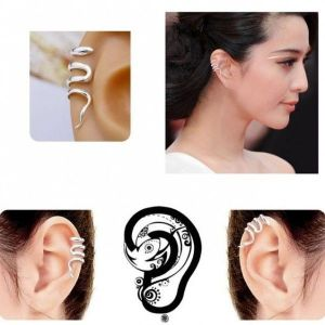Steel earring clip with curls