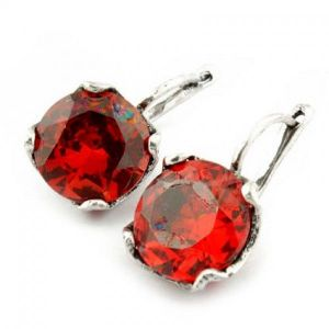 Charming earrings with stones, red
