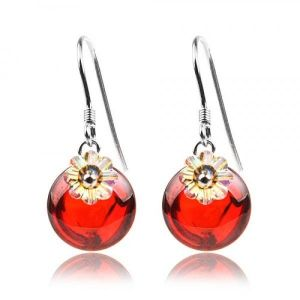 Silver earrings with red stones