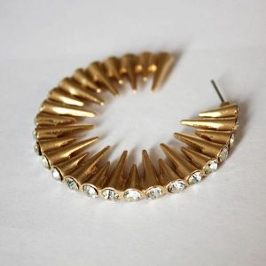 Golden earrings with rhinestones