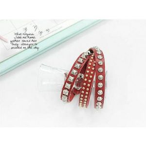 Red bracelet with metallic sequins