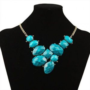 Necklace with big stones, blue