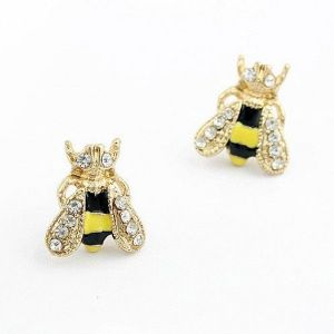 Earrings bee with rhinestones