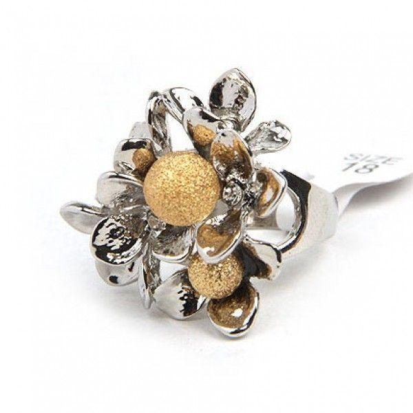 РАСПРОДАЖА! Двухцветное кольцо в форме цветка
