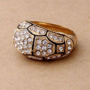 Beautiful Golden ring with rhinestones