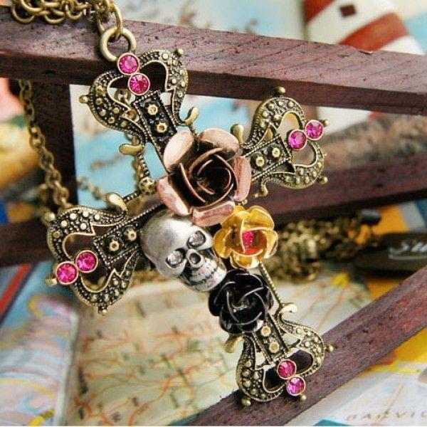 РАСПРОДАЖА! Ожерелье с крестом и черепом