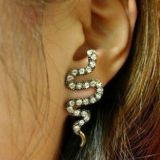 Earrings snake with rhinestones