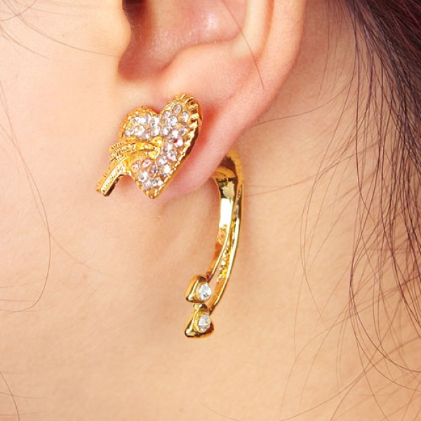 Golden earrings with a heart. Артикул: IXI30157