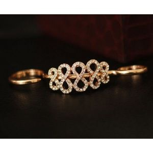 Long Golden ring with rhinestones