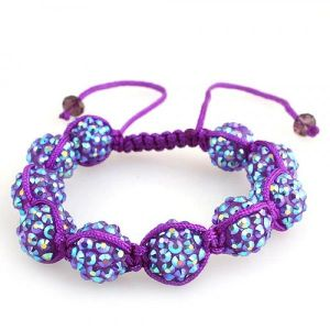 Woven bracelet with beads and rhinestones