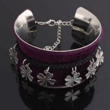 Metal open bangle with flowers