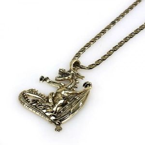 Metal necklace with dragon