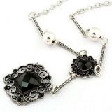 Beautiful necklace with black flowers