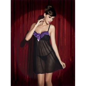 SALE! Transparent dressing gown with purple lace