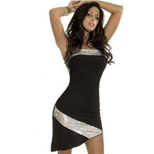 SALE! Black dress with silver accents. Артикул: IXI31043