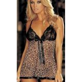 Leopard print negligee with fishnet top