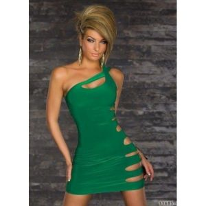 Green mini dress one shoulder. Артикул: IXI31235
