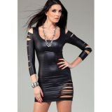 Vinyl dress with slits