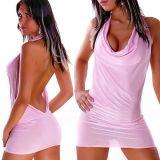 Короткое розовое мини-платье с открытой спиной цена фото