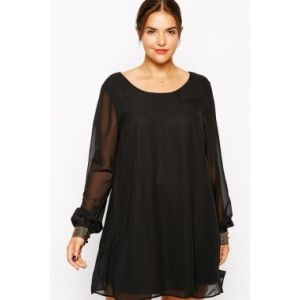 Black short chiffon dress. Артикул: IXI31646