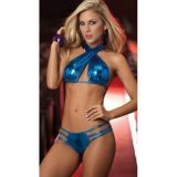 SALE! Blue vinyl lingerie set