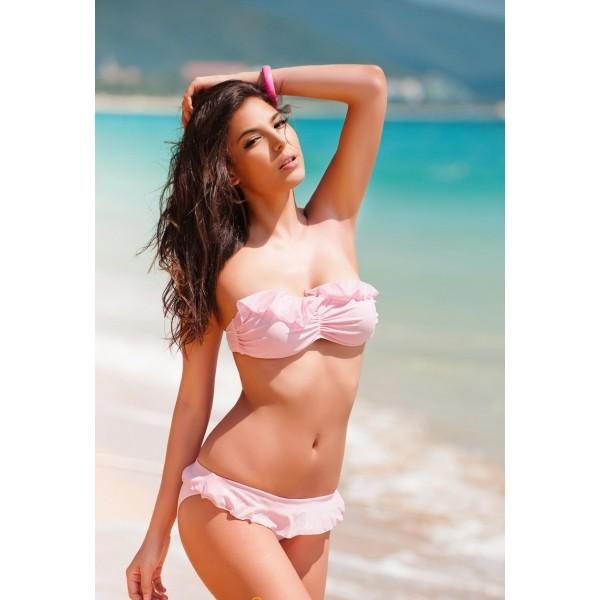 Купить онлайн Нежное контрастное бикини фото цена акция распродажа