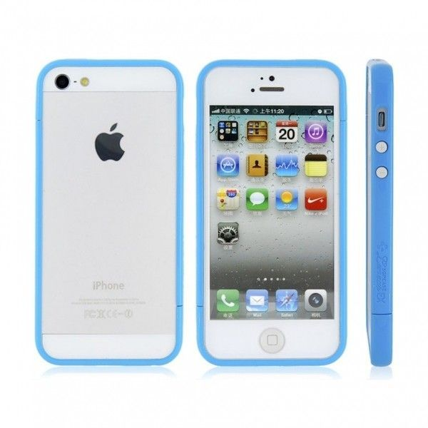 Glossy Injection Painting Design PC Up & Down Protective Frame for iPhone 5 (Blue)