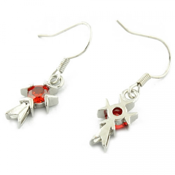 Earrings with red stones in the shape of a cross. Артикул: IXI33344