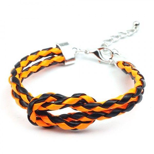 РАСПРОДАЖА! Двухцветный браслет на металлической застежке, черно-оранжевый