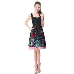 SALE! Black dress with floral print