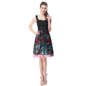 Black dress with floral print. Артикул: IXI33561