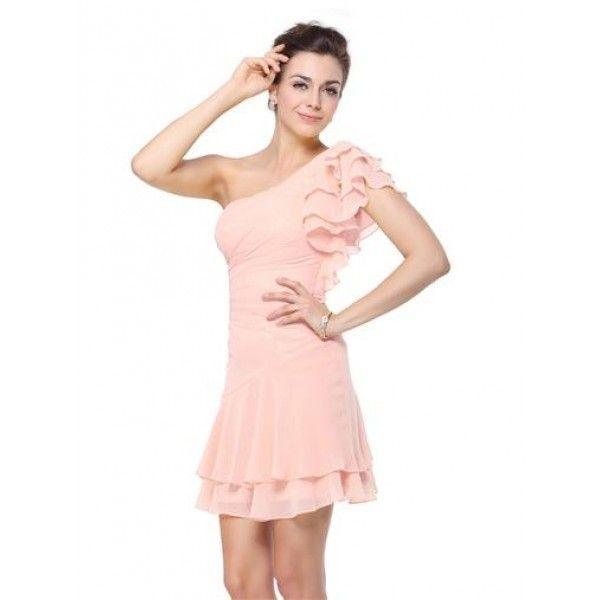 Платье на одно плече с рюшами