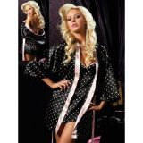 Black satin robe with pink trim