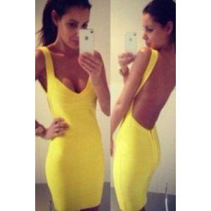 Сексапильное платье желтого цвета - Платья