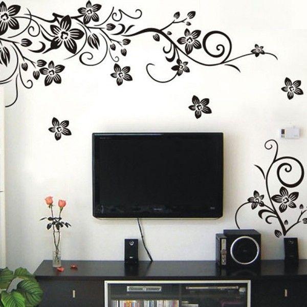Виниловая наклейка - черно-белые цветы