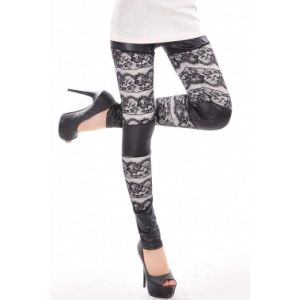Lace leggings black and white colors. Артикул: IXI35062
