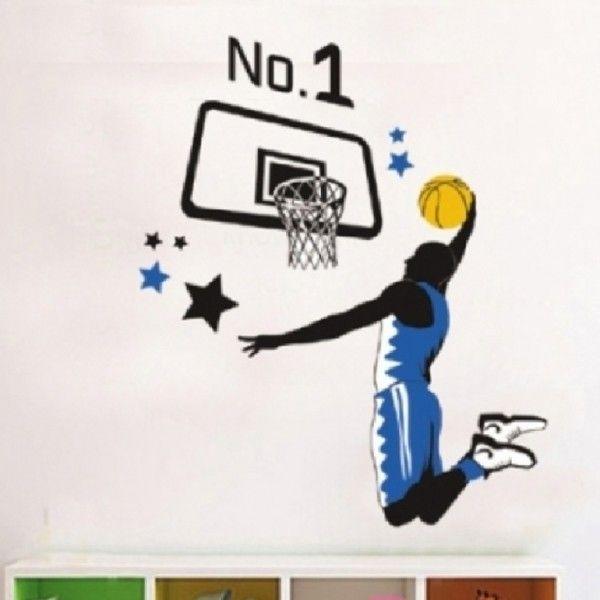 Виниловая наклейка - Баскетболист и баскетбольное кольцо