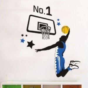 РАСПРОДАЖА! Виниловая наклейка - Баскетболист и баскетбольное кольцо - Интерьер, декор