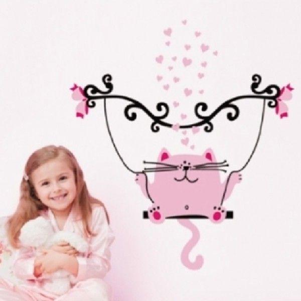 Виниловая наклейка - Розовый кот на качелях