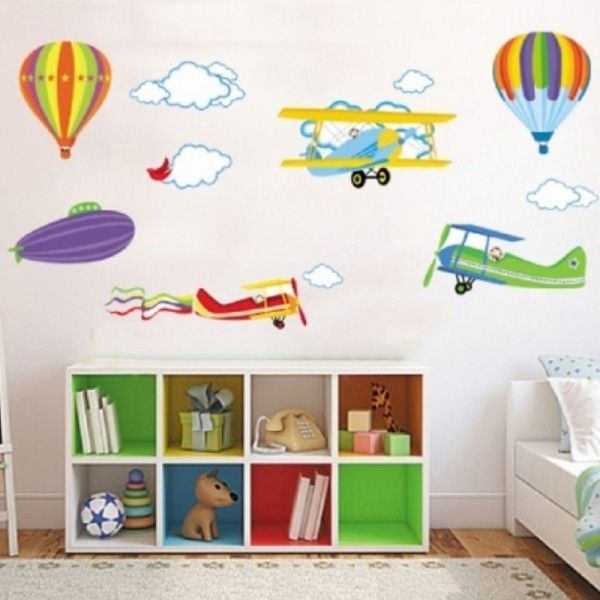 Виниловая наклейка - Детские самолетики и воздушные шарики