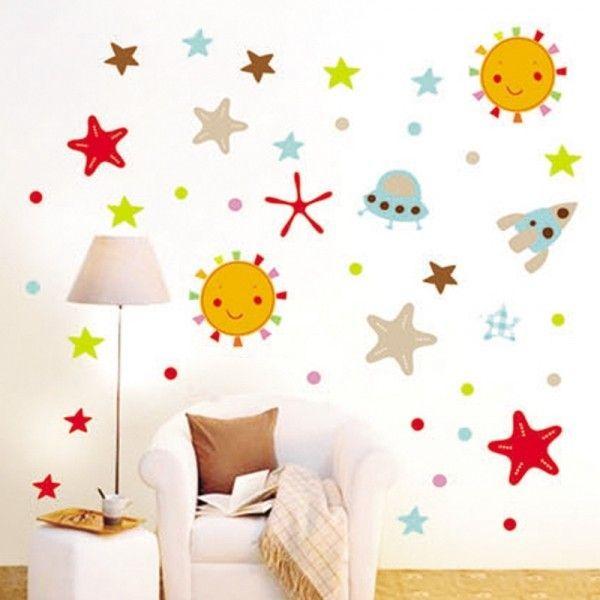 Виниловая наклейка - Детские звезды и инопланетные тарелки