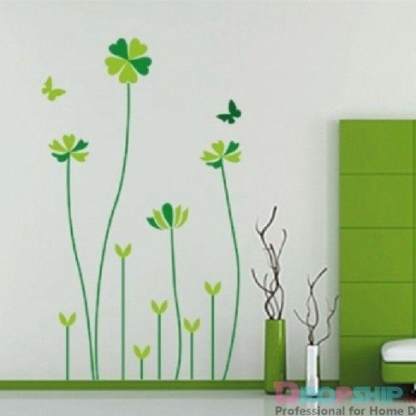 Виниловая наклейка - Салатовые цветочки с бабочками