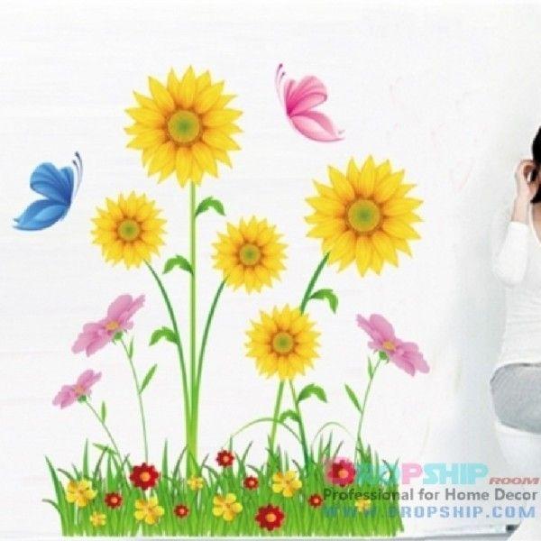 Виниловая наклейка - Цветы и подсолнухи