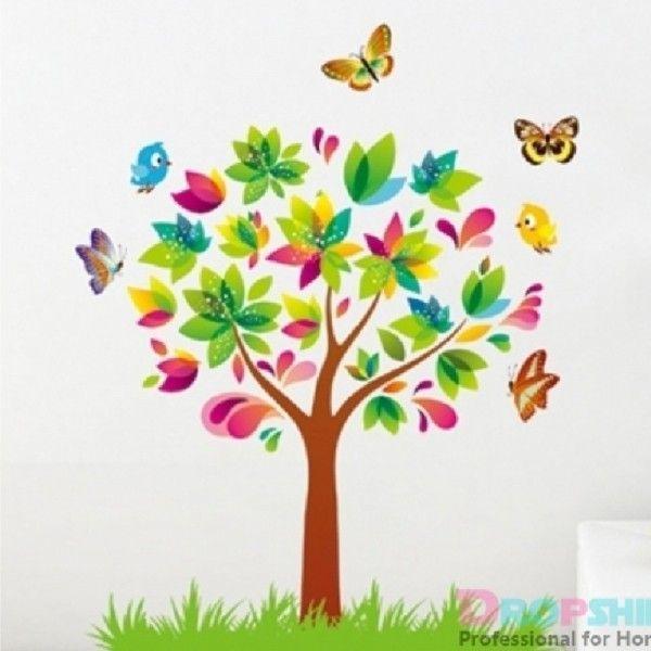 Виниловая наклейка - Сказочное дерево с бабочками